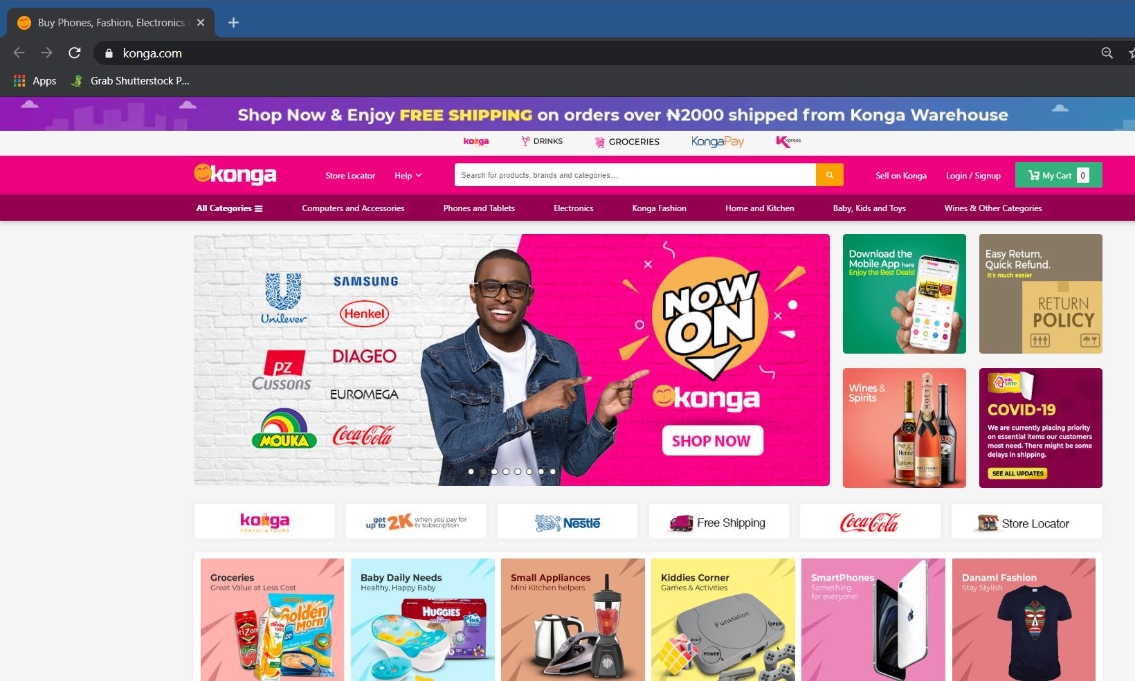 Free delivery on Konga Warehouse Products